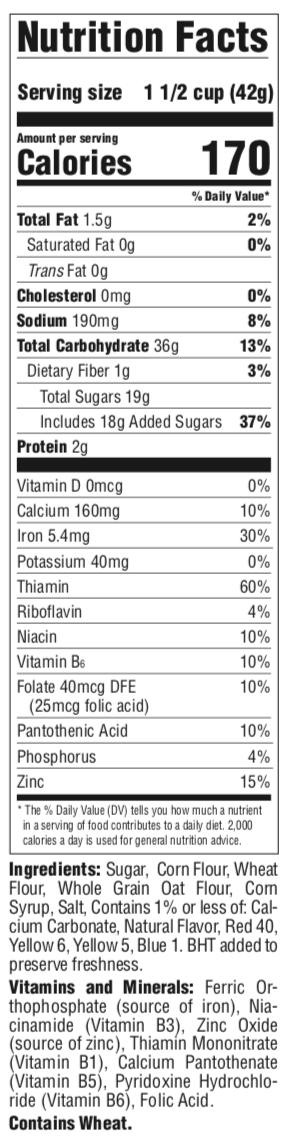 Tootie Fruities Nutrition Panel